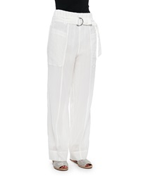 Brunello Cucinelli Wide Leg Pants In Sheer Cotton