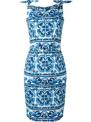 Samantha Sung Tile Print 'Monroe' Dress Blue