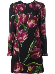 Dolce And Gabbana Tulip Print Dress Black