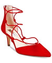 Inc International Concepts Daree Lace Up Pumps Only At Macy's Women's Shoes Bright Red