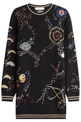 Valentino Embroidered Virgin Wool Sweater Dress With Cashmere Multicolor