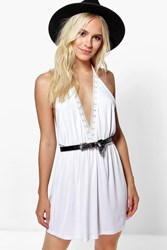 Boohoo Ally Crochet Trim Detail Halter Swing Dress White