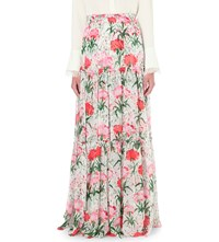 Erdem Tiered Floral Print Silk Maxi Skirt White Red
