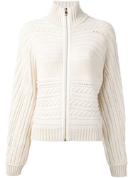 Salvatore Ferragamo Cable Knit Cardigan Nude And Neutrals