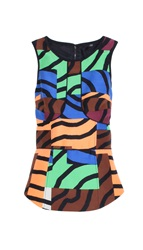 Tibi Zebra Maze Sleeveless Top