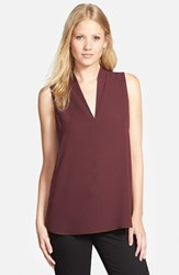 Women's Pleione Layered V Neck Sleeveless Blouse Burgundy Stem