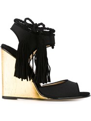 Paul Andrew Tassel Detail Wedge Sandals Black