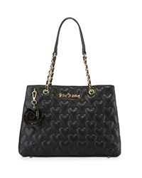 Betsey Johnson Bee Mine Heart Quilted Tote Bag Black