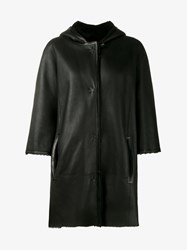 Yves Salomon Shearling Lined Leather Cape Coat Black Salmon