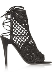 Tamara Mellon Black Widow Macrame Leather Sandals