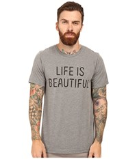 Life Is Beautiful Lib Stack Crew Neck Tee Gray Black T Shirt