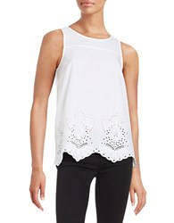Kensie Embroidered Tank White
