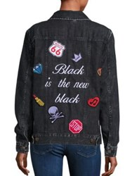 Logophile Embroidered Boyfriend Denim Jacket Black