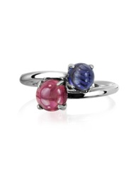 Mia And Beverly Iolite And Garnet 18K White Gold Ring Dark Blue