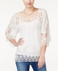 American Rag Crocheted Three Quarter Sleeve Top Only At Macy's White