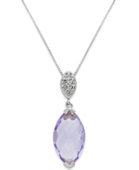 Macy's Pink Amethyst 3 Ct. T.W. And Diamond Accent Pendant Necklace In 14K White Gold