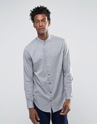 Selected Homme Grandad Shirt With Curved Hem Light Grey