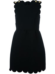 Red Valentino Scalloped Dress Black