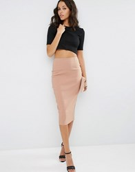 Asos High Waist Longerline Pencil Skirt Camel Beige