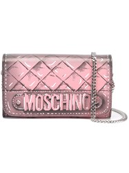 Moschino Trompe L'ail Quilted Chain Wallet Pink And Purple