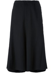 Y's Hide Legged Cropped Trousers Black