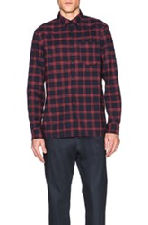 A.P.C. Plaid Button Down In Red Blue Checkered And Plaid