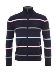 Eden Park Striped Cotton Zip Up Cardigan Navy
