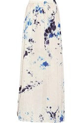 Raquel Allegra Tie Dyed Crinkled Silk Crepe Maxi Skirt Pink