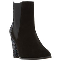 Dune Order High Block Heel Ankle Boots Black Suede Glitter