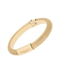 Michael Kors Cubic Zirconia And Goldtone Stainless Steel Ridged Bangle Bracelet
