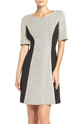 London Times Women's Zigzag Knit A Line Dress