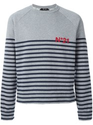 No21 Striped Sweater Grey