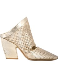 Marsa Ll Perforated Mules Metallic