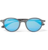 Ray Ban Round Frame Metal Mirrored Sunglasses Black