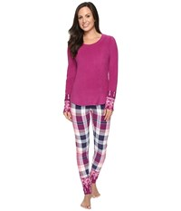 Lucky Brand Packaged Microfleece Pajama Set Aster Plaid Women's Pajama Sets Red