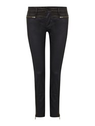 Calvin Klein Mid Rise Skinny Jeans With Leather Combo Black