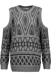 Rebecca Minkoff Page Cutout Intarsia Knit Sweater Gray