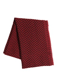 The Kooples Herringbone Wool And Cotton Scarf Red Black