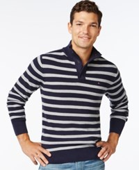 Tommy Hilfiger Porto Stripe Mock Collar Sweater Navy Blazer New Silver