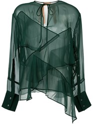 N 21 No21 Semi Sheer Layered Blouse Green