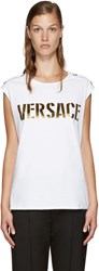 Versace White And Gold Logo Tank Top