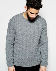 Asos Crew Neck Jumper With All Over Cable Grey