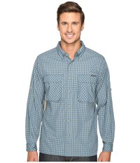 Exofficio Air Strip Micro Plaid Long Sleeve Top Atlantic Men's Long Sleeve Button Up Blue