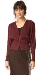 Alice Olivia Morgan Ribbed Cardigan Plum Copper Metallic