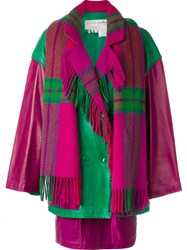 Jc De Castelbajac Vintage Coat Skirt And Scarf Set Pink And Purple