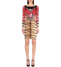 Roberto Cavalli Floral And Animal Print Dress Leopard Red