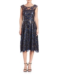 Kay Unger Sequined Cap Sleeve Dress Navy Multi