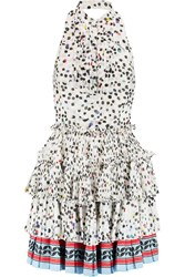 Just Cavalli Pleated Printed Chiffon Halterneck Mini Dress Multi