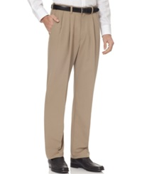 Haggar Big And Tall Cool 18 Pleated Microfiber Dress Pants Khaki