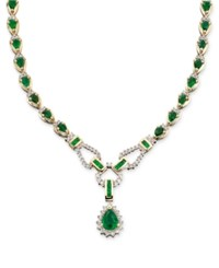 Macy's Sapphire 12 1 3 Ct. T.W. And Diamond 1 1 5 Ct. T.W. Toggle Necklace In 14K White Gold Green